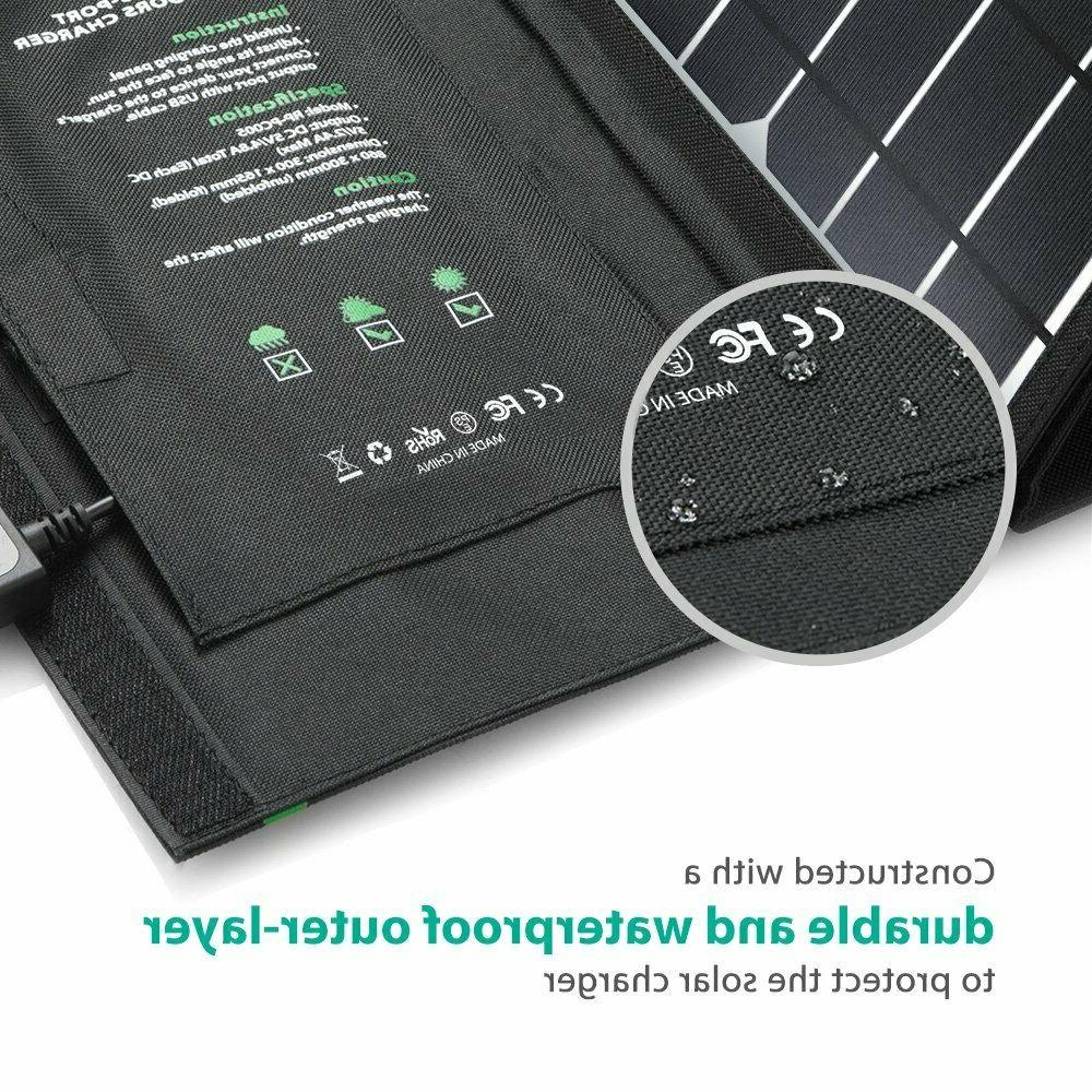 RAVPower Solar Portable 24W panel with USB Ports, foldable