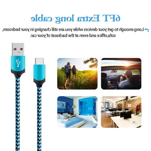 Type C Charger, Ououdee 5-Pack Premium Type C Nylon USB