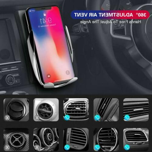 US Clamping Wireless Charger Air Vent Phone Holder