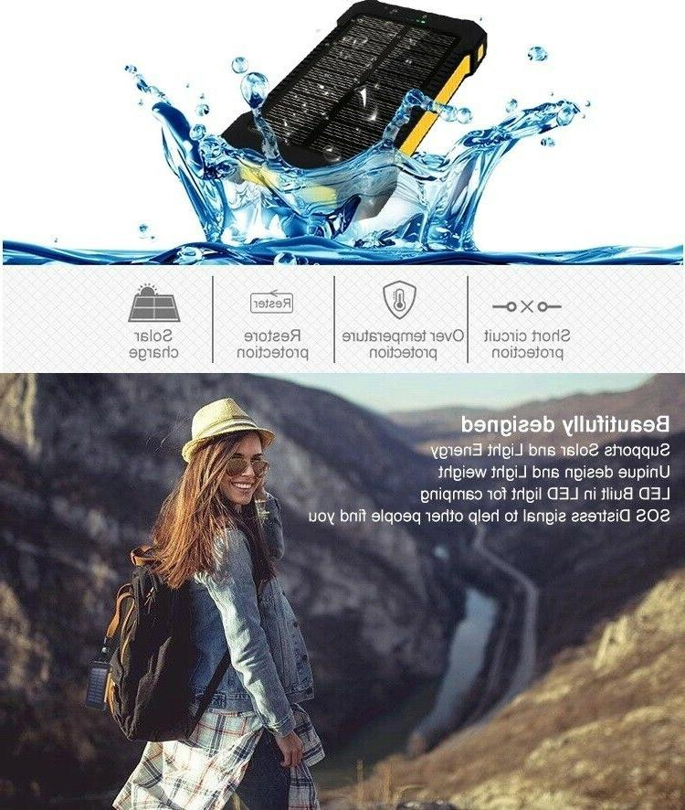 USA SOLAR CHARGER Phone Waterproof Survival Flashlight Camp