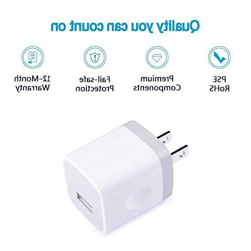 USB C Cable, Ououdee Wall Charger with 6FT Nylon C Cable Compatible for Galaxy S8 8, Chromebook, G6 V20, 950, Google
