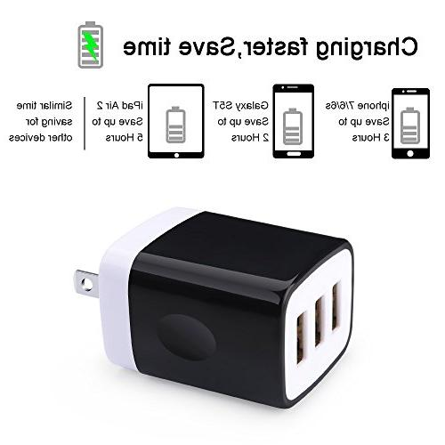 Kakaly USB Charger, Adapter, Home Travel Plug Charging Block Cube Galaxy, HTC, Huawei, Moto, MP3, Speaker Headset