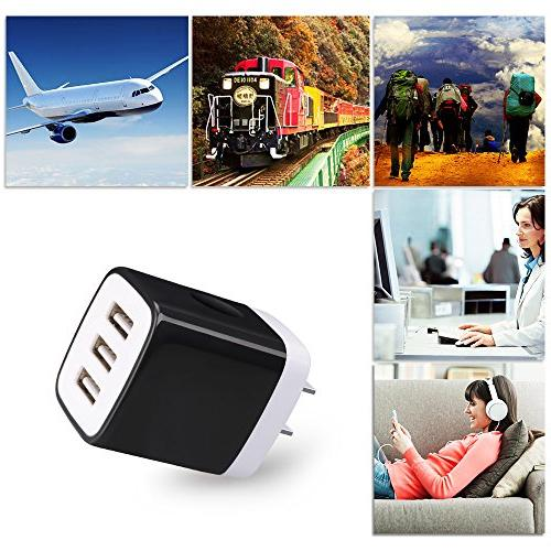 Kakaly Charger, Power Adapter, 3.1A Home Travel 3-Port Plug Block Phone Cube Compatible Galaxy, Moto, Bluetooth