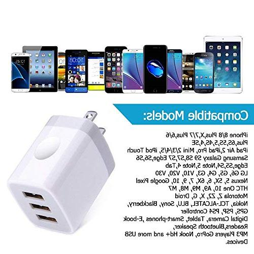 USB Wall Charger Charging, Ououdee 3.1A Universal Charger iPhone X/8/7/6s/Plus, Galaxy S7/S6/Edge/Plus, Nokia
