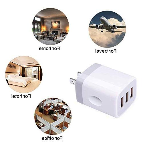 USB Wall Charging, Ououdee 3.1A Home Charger Plug Compatible iPhone X/8/7/6s/Plus, Galaxy Nokia