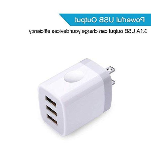 USB Charger Charging, Ououdee 3.1A Universal Travel Charger Plug Compatible X/8/7/6s/Plus, Pro/Air Galaxy Nokia