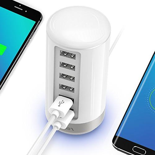 USB Wall Charger, Seenda USB Charger 6-Port with Identification White