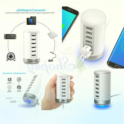 USB USB 6-Port Charger with Smart White