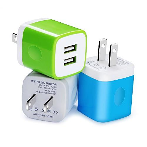 Wall Charger, Kakaly 3-Pack 2.1Amp Adapter Dual Port Cube for iOS Base,Charger Brick,Charger Brick