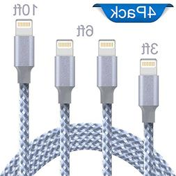Lightning Cable, Iseason iPhone Charger Cables 4Pack 3FT 6FT