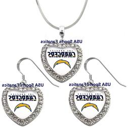 Los Angeles Chargers 925 Necklace / Earrings or Set Team Hea