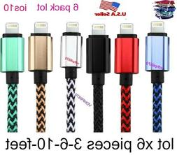 LOT 6 Cable 10ft Braided USB Charger Cable for Apple Lightni