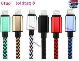 LOT OF 6X Braided USB Charger Cable Apple Lightning iPhone7