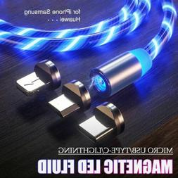 Magnetic Flowing Light LED Fast Charging Micro USB C Type-C