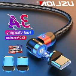 Magnetic Type C Micro USB Data Cord Fast Charge Cable For iO