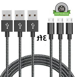 AOKER Micro USB Cable, 3Pack 3FT Extra Long Nylon Braided Hi