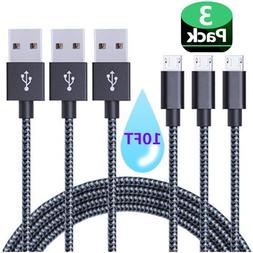 Micro USB Cable, AOSOK 3Pack 10ft Nylon Braided High Speed M