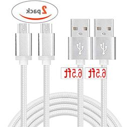 Micro USB Android Charger Cable Fast Charging Cord 2Pack 6ft