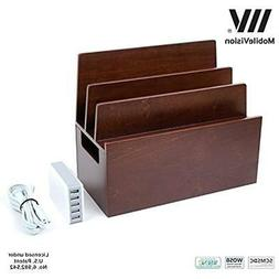 mobilevision wood categories multi device organizer stand