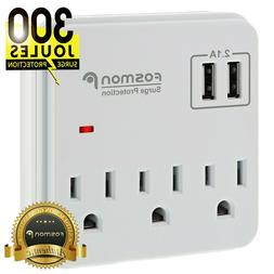 Multi 2 USB 3 Outlet Port Wall Tap Surge Protector Power Str