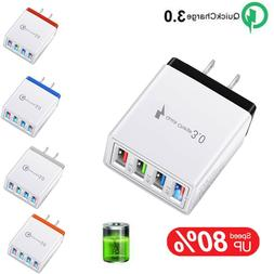 4 Multi-Port Fast Quick Charge 3.0 Wall Charger USB Hub Powe