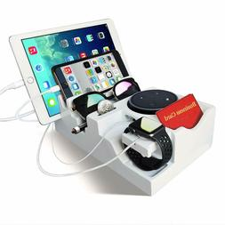 Multiple Device Charging Station Organizer White Valet Tray