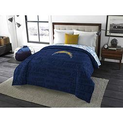 1 Piece NFL Chargers Comforter Twin/ Full, Blue Multi Footba