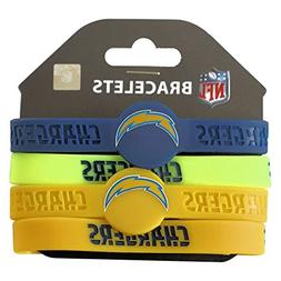 aminco NFL Los Angeles Chargers Silicone Bracelets, 4-Pack