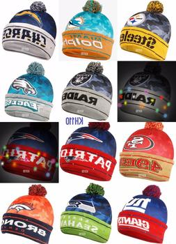 NFL Team Big Logo Camouflage Light Up Beanie-Officially Lice
