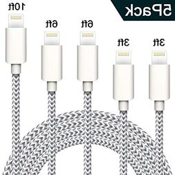 TNSO Phone Cable 5 Pack  Extra Long Nylon Braided USB Chargi