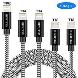Phone Cable SHARLLEN 3FT/3FT/6FT/6FT/10FT Nylon Braided USB