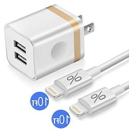 Phone Charger 10ft with Wall Plug, FIMARR 2-Pack 10-Feet Lon
