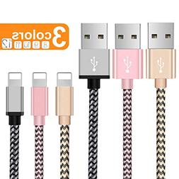 Phone Charger Cable, 3Pack 6FT 5FT Nylon Braided Charger Cor