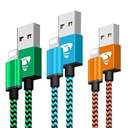 Phone Charger Founus Fast Charging Cable 6FT 3 Pack Nylon Br