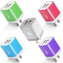 Power-7 USB Wall Charger, 5-Pack 2.1A Dual Port USB Charger