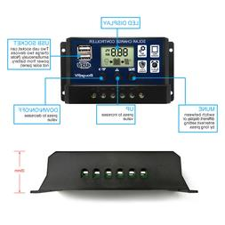 PWM 30A Solar Charge Controller 12V 24V LCD Display Dual USB