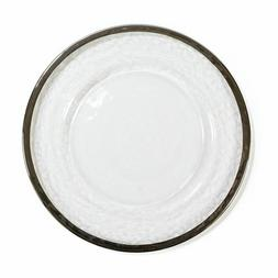 LinenTablecloth Rimmed Round Glass Charger Plate  for Events