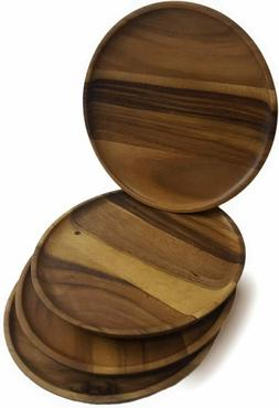 roro Round Acacia/Classic 12 Inch Wood Serving Plates and Ch