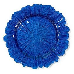 Royal Blue Coral Glass Charger Plate 4/pack