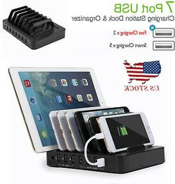 S762 7-Port Multi USB Charger Rapid Smart Charging Station f