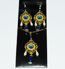 San Diego Chargers  Baroque Necklace and Earrings Set -  Shi