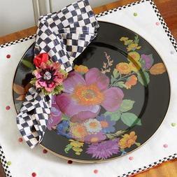 "MacKenzie-Childs Black Flower Market 12"" Charger Large Dinne"