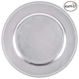 Tiger Chef 13-inch Silver Round Beaded Charger Plates, Set o