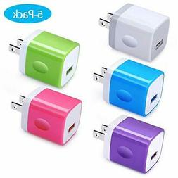 Single Port Wall Charger, Charger Cubes, Ououdee 5Pack