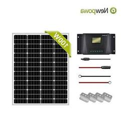Newpowa Solar Panel 100 Watt 100W 12V PV Off Grid Kit RV Boa