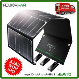 RAVPower Solar Portable Charger 24W panel with 3 USB Ports,