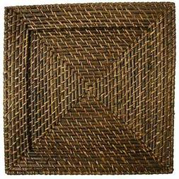 Chargeit by Jay Square 13-Inch Rattan Plates, Set of 4