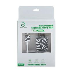 Tech Trendz Zebra Pattern Cell Phone Charger Set Compatible