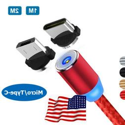 US 3/6FT USB Magnetic 360° Micro Type-C Cable For Samsung S