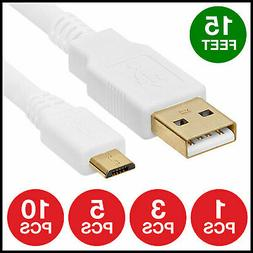 USB 2.0 Micro 15FT Cable Fast Charger Sync Data Cord Samsung